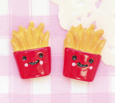 6 x French Fries Chips Character Flat Back Kawaii Cabochons Decoden UK SELLER