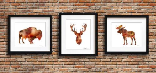 Set of 3 Buffalo Deer Moose Watercolor Paintings Triptic Art Prints by DJR