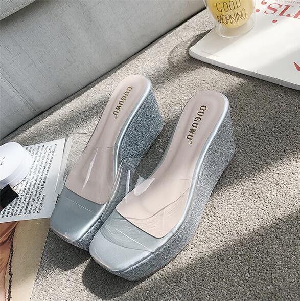 Sandale eleganti sabot zeppa ciabatte 9 silver comodi  simil pelle eleganti 9809
