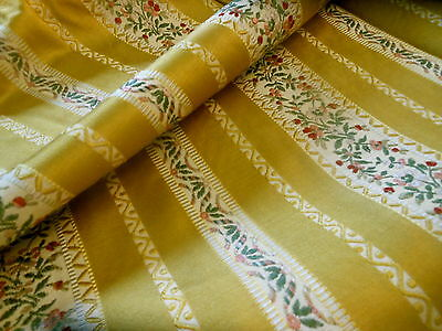 RSVD~ Vintage Gold French Lisere Floral Stripe Brocade ~pillow upholster