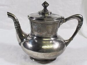 Antique Derby Silver Co Silverplate Tea Pot Dragonfly Palm