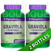 Graviola 600mg Soursop 120 Capsules By Piping Rock (2x60 Or 1x120)