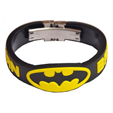 Pack Of 2 Men Style Batman Inspired Embossed Silicone Wristband with Lock