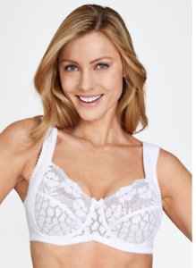 MISS MARY OF SWEDEN JACQUARD /& LACE UNDER WIRED BRA NUDE WHITE 2166