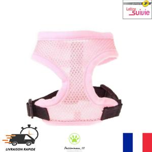 Harnais-Souple-Respirant-Rose-Clair-pour-Chien-Chiot-et-Chat-XS-S-M-L-XL-Neuf-FR