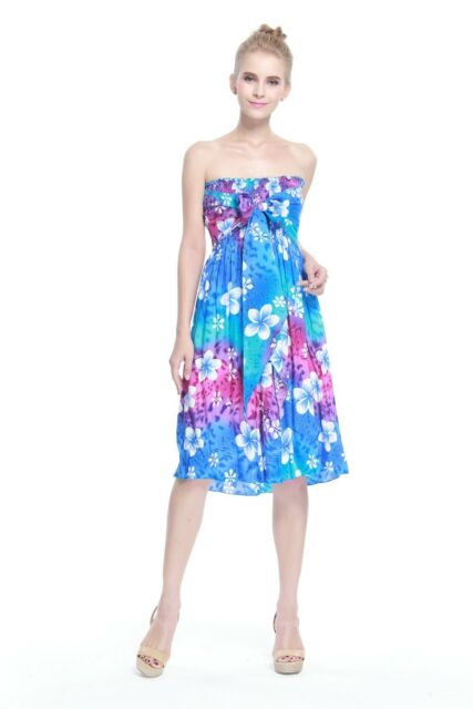 Hawaiian Luau Dress Cruise Short Tube Elastic Plus Size Tie Rainbow Blue