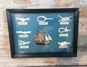 Nauticalia 3D Box Wood Frame Picture Nautical Rope Knots And Sailing Galleon