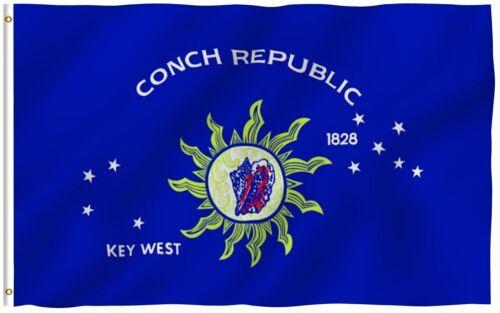 3x5 Key West Conch Republic Nylon 210D Single Reverse Flag 3/'x5/' Pin /& Clips