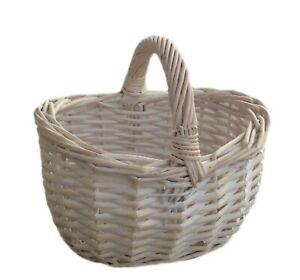 Wicker-Childs-White-Wash-Flower-Girl-Basket-Bridesmaid-Egg-Collecting-Wedding