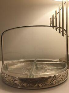 1930's französische Art Deco Serviertablett-Silber und Glas-gute Größe-guter Zustand