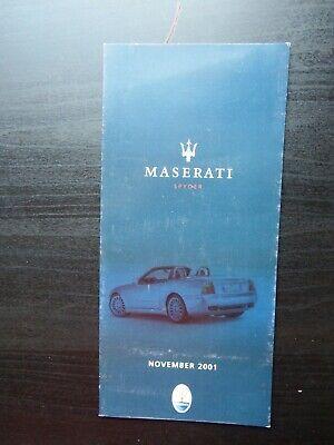 2001 MASERATI SPYDER * * VEHICLE SPEC CARD * * UK * * * | eBay