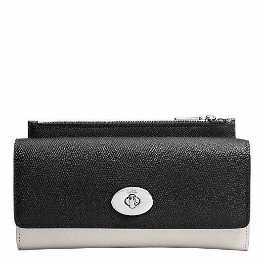 NEW Coach F52345 Slim Envelope Wallet with Pop-up Pouch Textured Leather - Denim