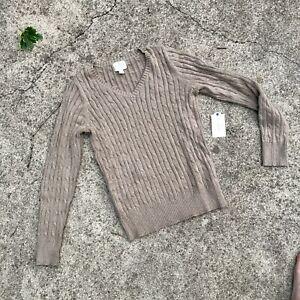 St. John's Bay NWT Beige V Meck Cardigan Sweater Pullover Women Size Medium