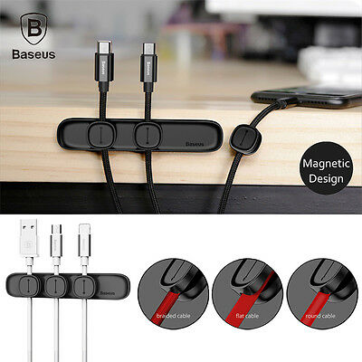 Baseus Peas Durable Magnetic Cable Clip USB Cable Organizer Clamp Charger Holder