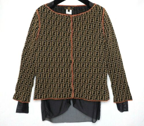 FENDI sweater brown gold black ladies jumper zucca