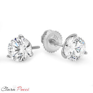 ae4f24a8d Details about 1.5 ct Round Cut 3-prong Solitaire Stud Earrings Solid 14k  White Gold Screw Back