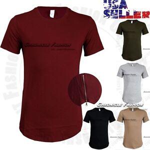 Men-T-Shirts-Crew-Neck-Extended-Elongated-Hip-Hop-Long-Tee-Casual-Zipper-HIpster