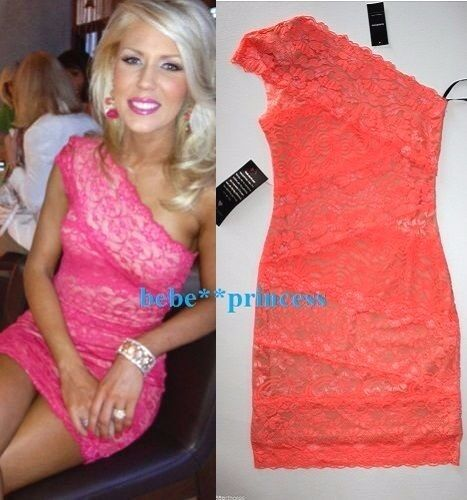 NWT bebe lace coral nude one shoulder floral bodycon top dress S Small 4 club