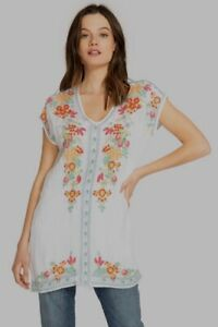 JOHNNY-WAS-Blouse-V-Neck-HEIDI-Tunic-Short-Sleeve-Embroidered-Dress-XL-245