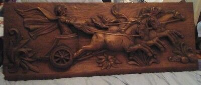 Antiques Architectural & Garden Huge Vintage Wooden Carved Relief Frieze Plaque Roman/greek Chariot Horses
