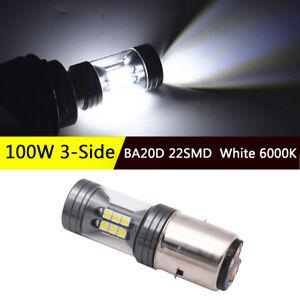BA20D-LED-Motorcycle-Electric-Cars-Headlight-Lamp-Bulb-100W-3-Side-White-6000K