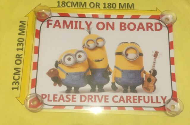 Static Cling Window Car Sign//Decal Child on Board 150 x 100mm Minion Despicable