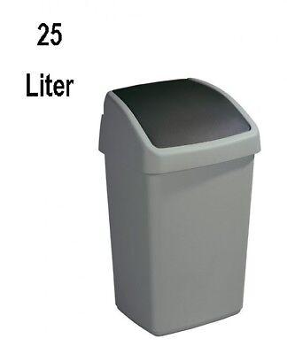 25 L 32 x 28 x 48,5 cm SUNWARE Delta Mülleimer mit Klappdeckel grau
