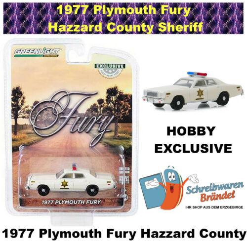 1:64 Greenlight Hollywood 1977 Plymouth Fury Hazzard County Sheriff Hobby Exc
