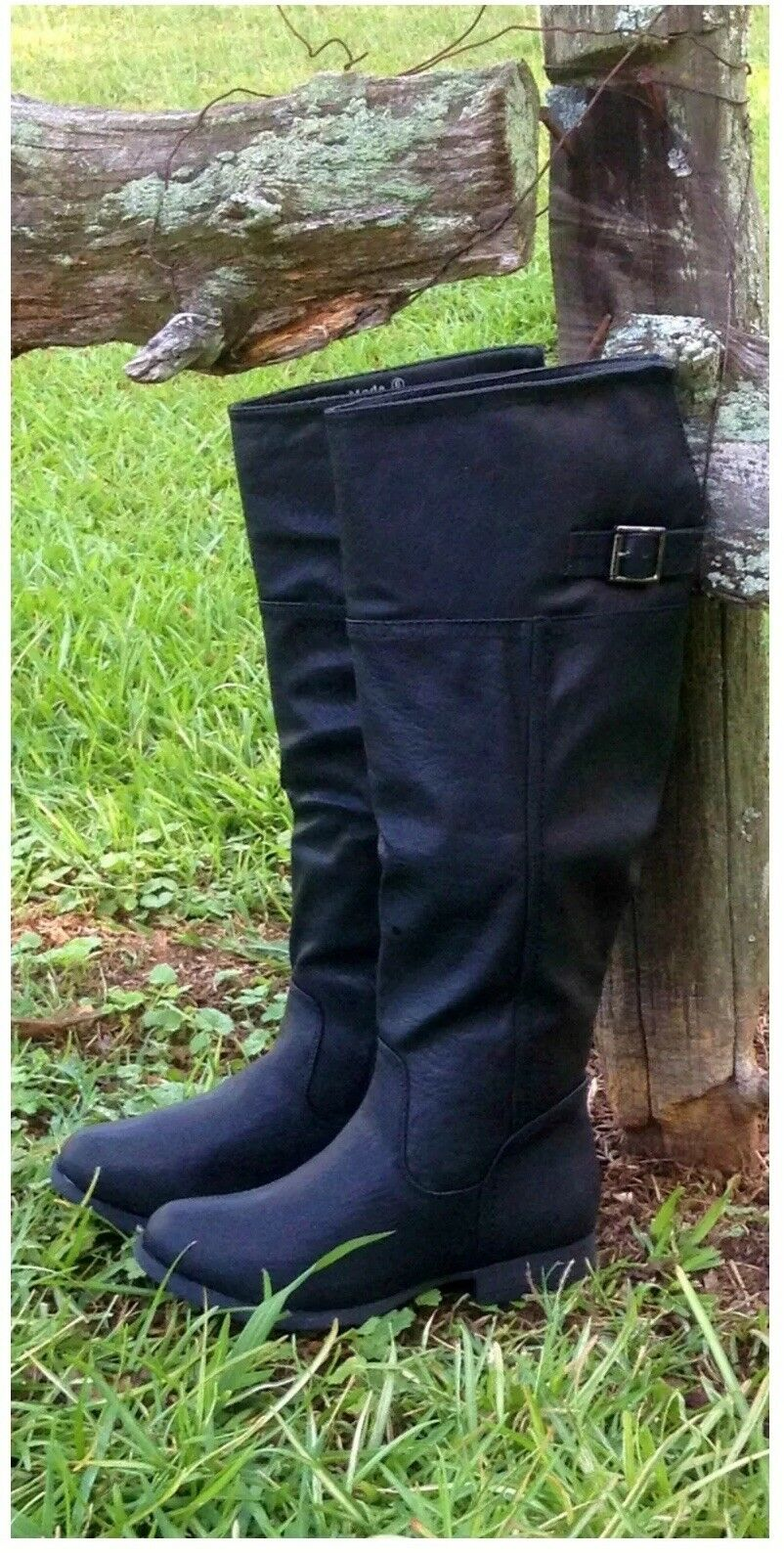 NWB Womens Riding Boots under knee BLACK flat Sizes 5 5.5 and 6