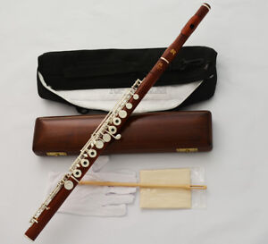 Professional-Rose-Wooden-Silver-C-Trill-Flute-European-Headjoint-Wood-Case-NEW