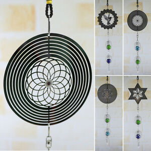 Metal-Hanging-Garden-Wind-Spinner-Round-Crystal-Garden-Or-Home-Ornaments-40cm