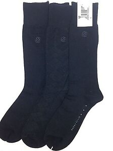 c33687e754  40 PERRY ELLIS Men s 3 PAIR PACK CREW DRESS SOCKS Rayon Black ...