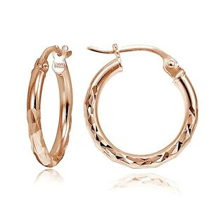 Rose-Gold-Tone-over-Sterling-Silver-Diamond-Cut-6-034-Small-Round-Hoop-Earrings