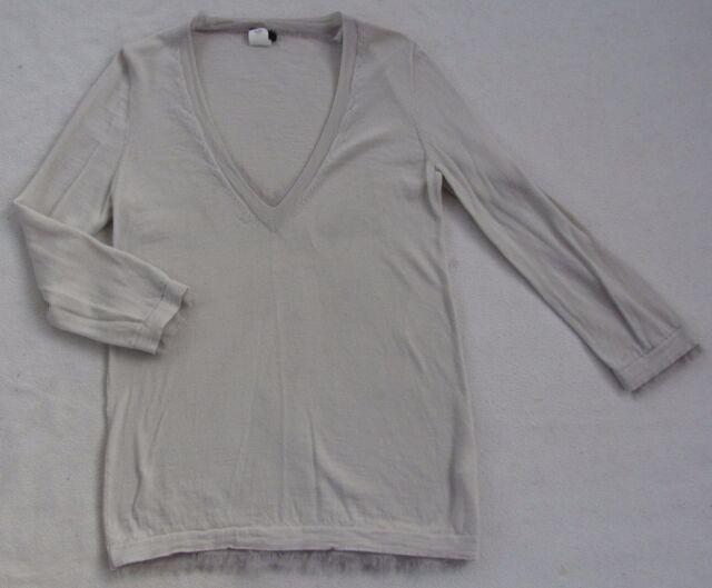 J.Crew Women s 100% Merino Wool 3 4 Sleeve V-Neck Light Gray Sweater ... 63290a759