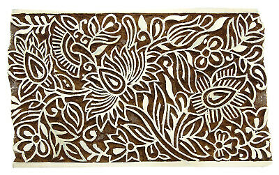 1 Pcs Decorative Wooden Floral HandCarved Textile Stamp Collectible Blocks Pottery Scrapbook Stamp PB2965A