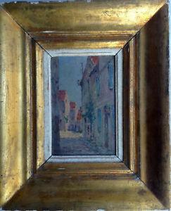 Tableau-ancien-Post-Impressionniste-Victor-CLAISSE-Ruelle-de-village-Huile-signe