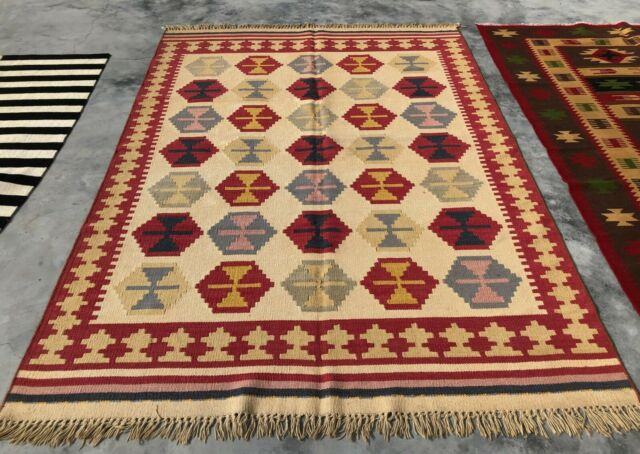 Authentic Hand Knotted Woven Vintage Wool Kilim Kilm Area Rug 8 x 6 Ft (449 KBN)
