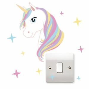 Unicorn Stars Light Switch Vinyl Sticker Laptop Wall Art Kids