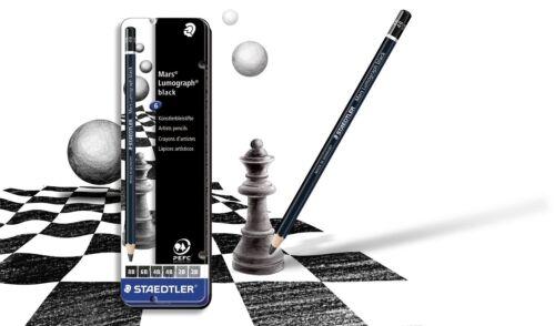 Staedtler Mars Lumograph Negro lápices artista X 6 De Calidad Premium 100B G6
