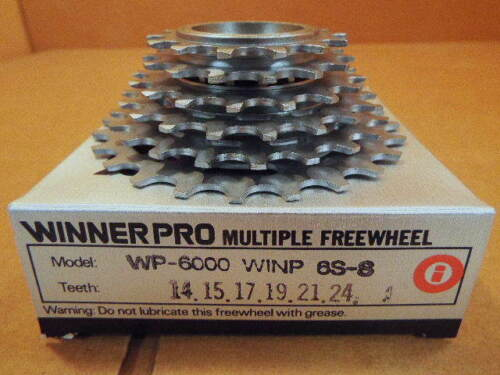 New-Old-Stock Suntour Winner Pro 6-Speed Freewheel w//Silver Finish 14x24