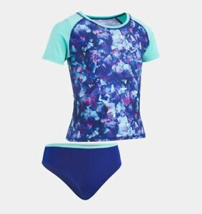 84734c04e5c90 UNDER ARMOUR® Girl's 5, 6 Blue Metaquartz Print 2-Pc Rashguard Swim ...