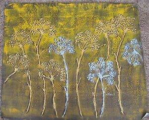 Image Is Loading Gold Silver Trees Impasto Original Oil On Canvas