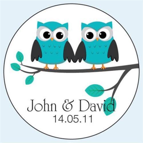 Personalised Wedding Civil Partnership Stickers Teal Owl Grooms 036