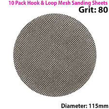 10x 80 Grit Silicon Carbide Mesh 115mm Round Sanding Discs –Hook & Loop Backing