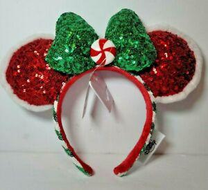 Disney Parks Mickey Minnie Mouse Christmas 2020 Peppermint Twist Ears Headband