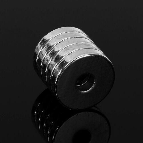 5pcs 15X3MM N50 Stark Rund Scheibenförmig Loch Blöcke Seltenerd Neodym Magneten