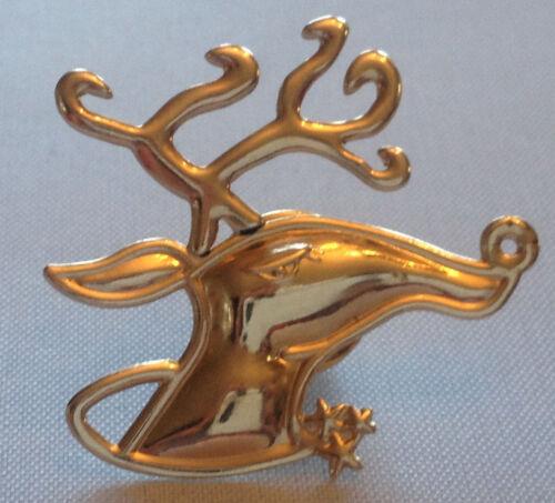 Vintage 18k Gold Two Tone Lapel Pin Tie Tac Emerald Ruby Deer Reindeer Christmas
