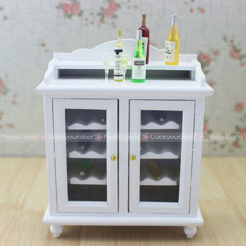 1:12 Dollhouse Miniatures Wine Cabinet Shelving Buffet Hutch Wooden Toys Kitchen