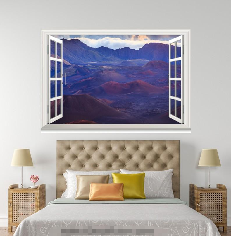 3D Hill Basin 47 Open Windows Mural Wall Print Decal Deco AJ Wallpaper Ivy