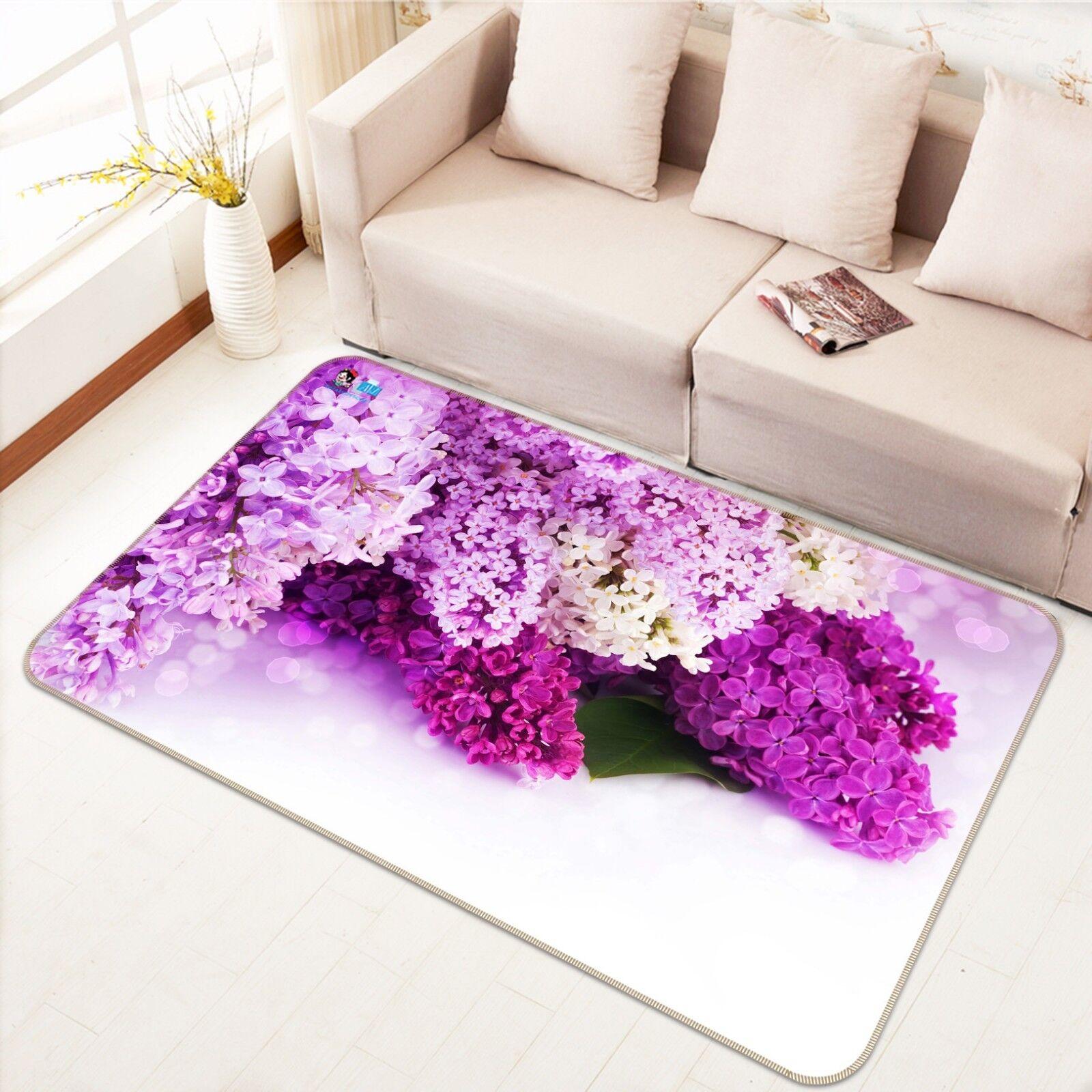 3D viola FIORI 425 tappetino antiscivolo tappeto camera Tappetino Qualità Elegante foto Tappeto UK